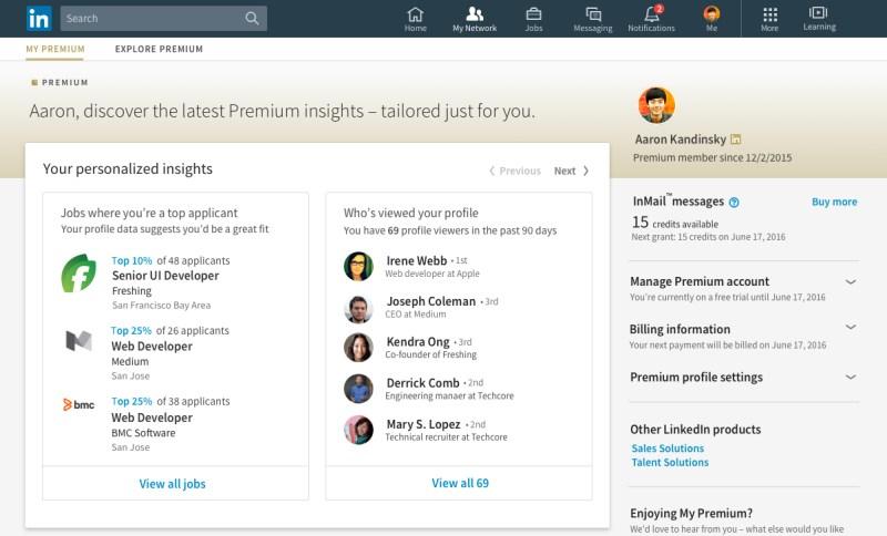 LinkedIn Premium features tab