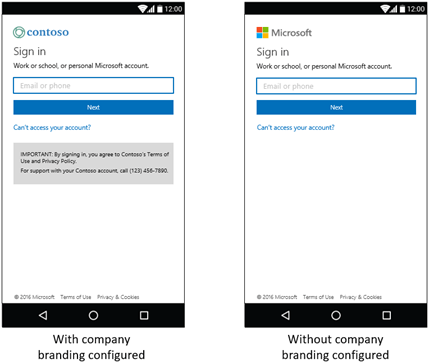 Azure AD Mobile sign-in UI