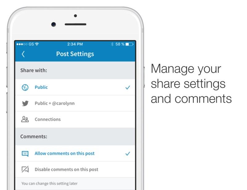 LinkedIn comments settings