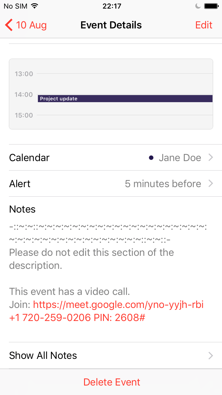 CalDAV auto generated even description