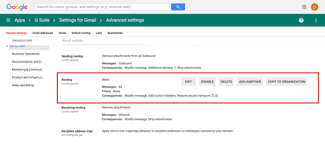 G Suite unified routing settings in Gmail Admin console