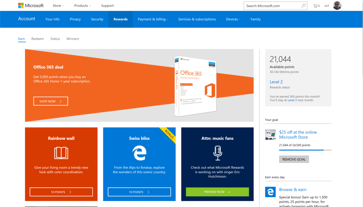 Score 5,000 Microsoft Rewards points with 1-year Office 365 subscription