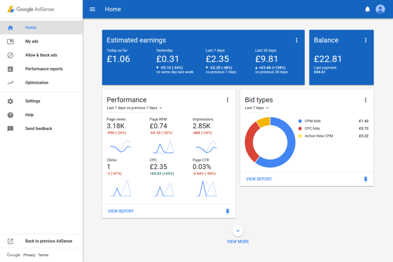Material Design AdSense Reports UI