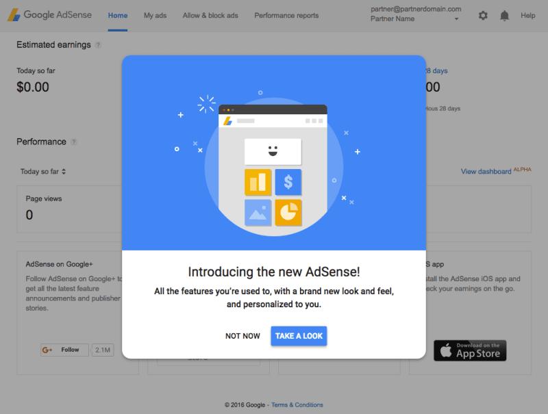 Material Design AdSense Homepage UI