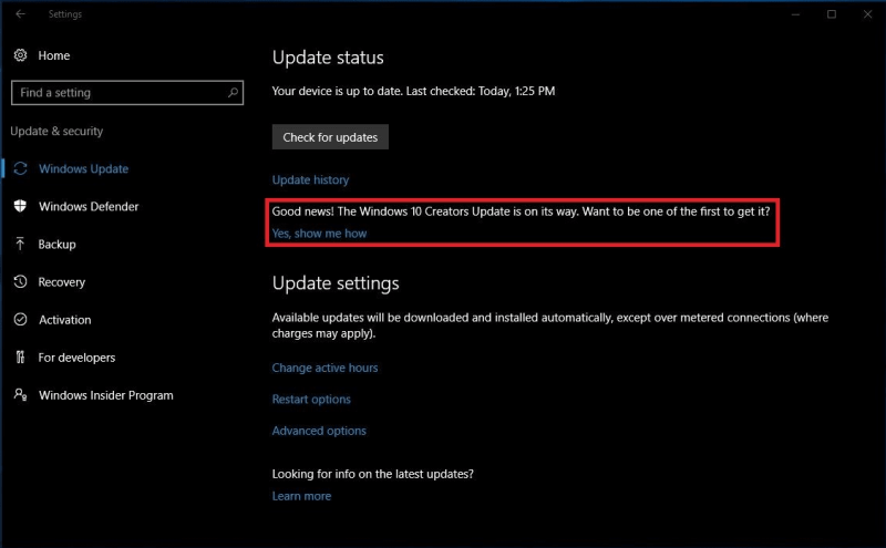 Windows 10 Build 14393.953: Creators Update Notification