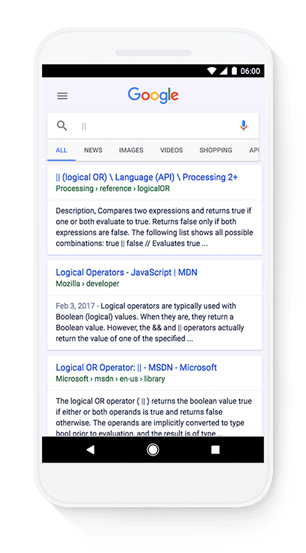 google search adds programming languages characters
