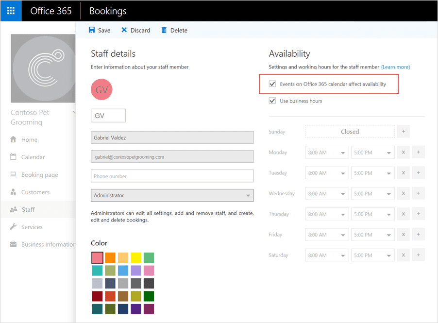 Add Office 365 calendar events to Microsoft Bookings