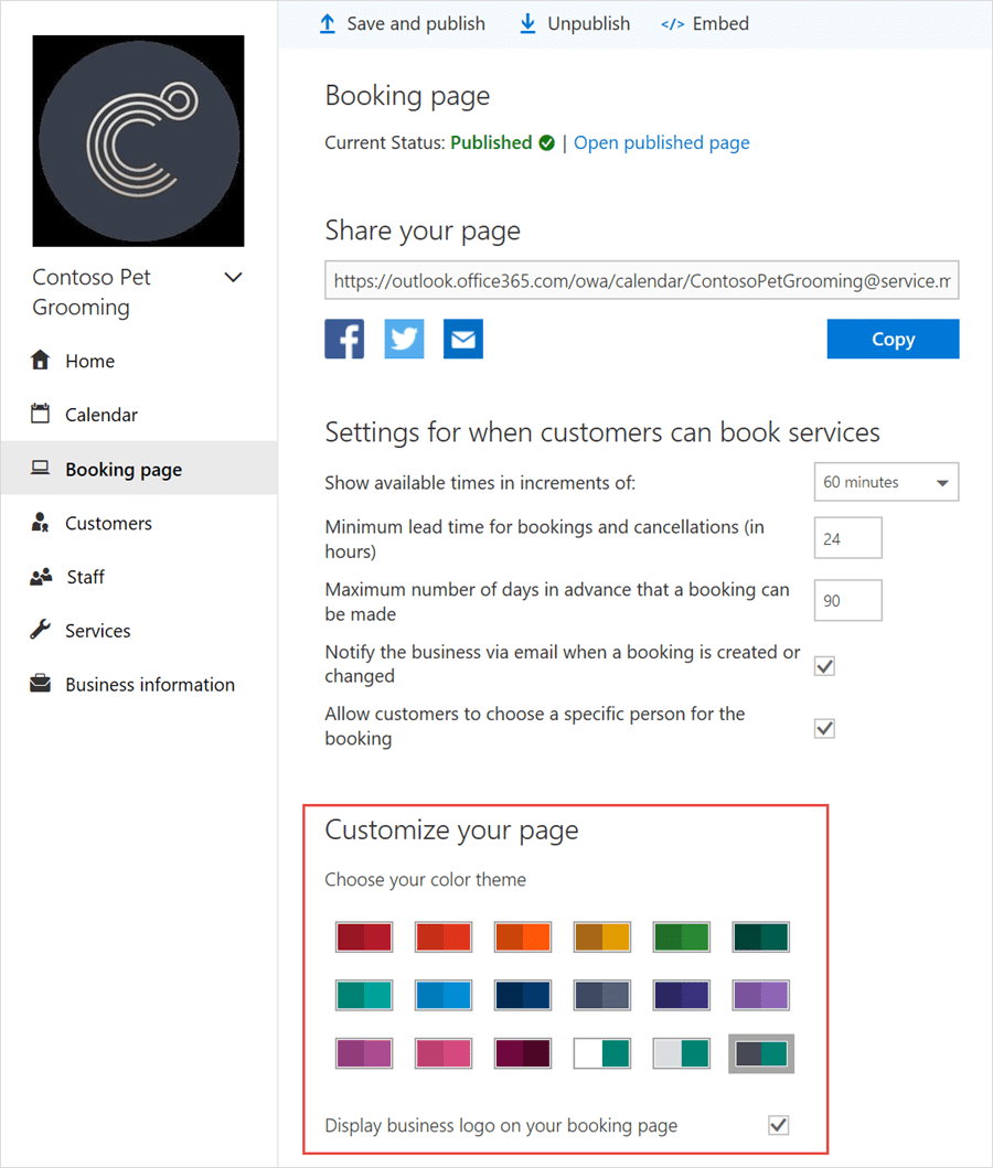 Customize Microsoft Bookings page
