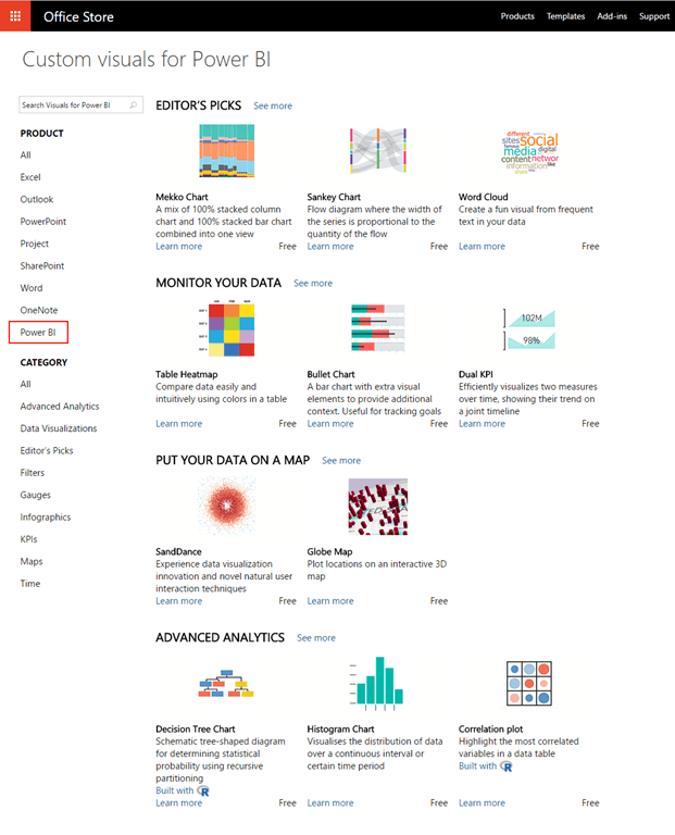 Power BI custom visuals gallery moved to Office store