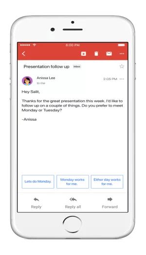 Gmail Smart Reply on Android and iOS