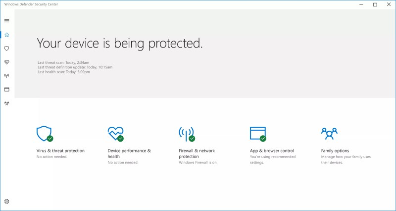 Windows Defender Security Center dashboard in Creators Update