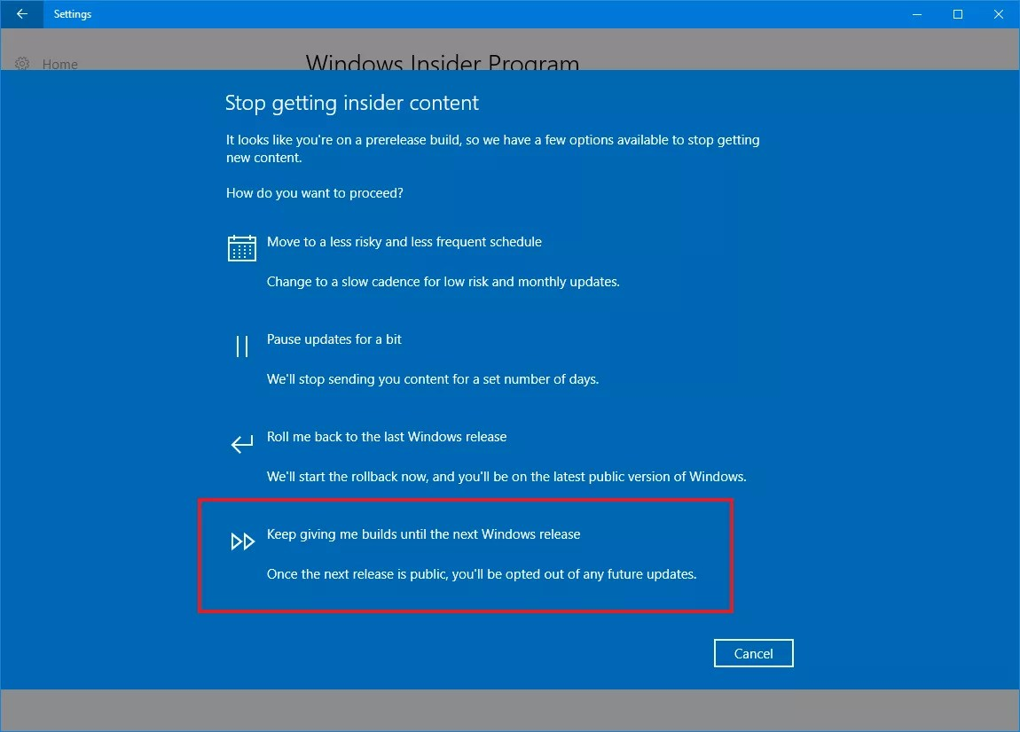settings to stay with windows 10 creators update