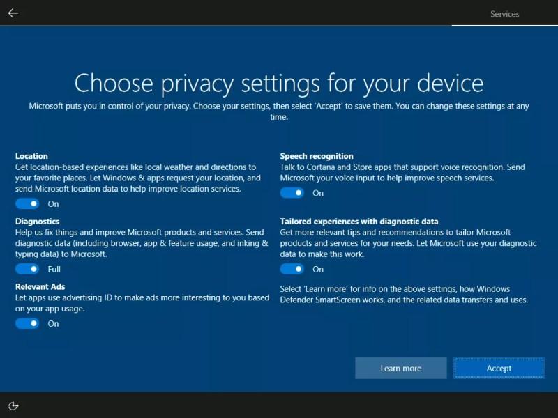windows 10 creators update privacy setup screen- toggle on