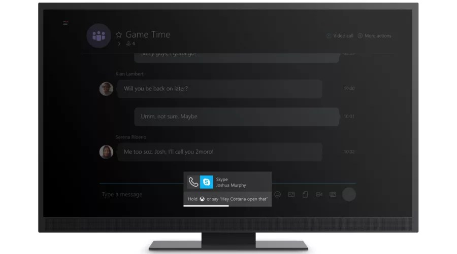 Incoming call on Skype app on Xbox One