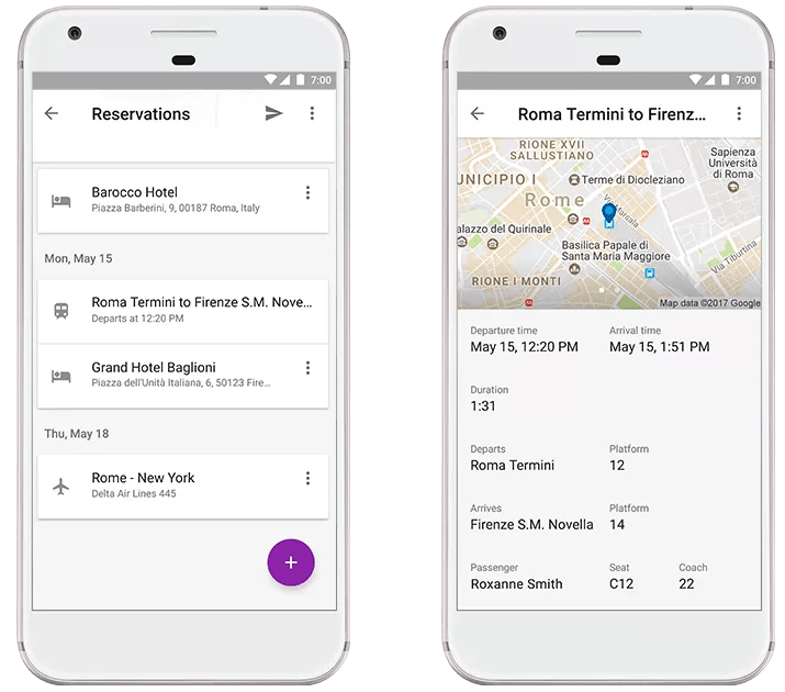 Google Trips: Past and upcoming trains, bus reservations