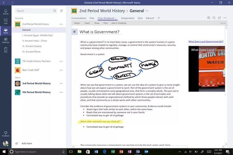 OneNote Class Notebooks right within Microsoft Teams