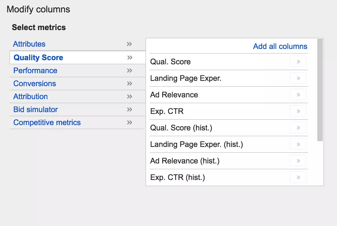 7 new columns for Quality Score components in AdWords keyword reporting
