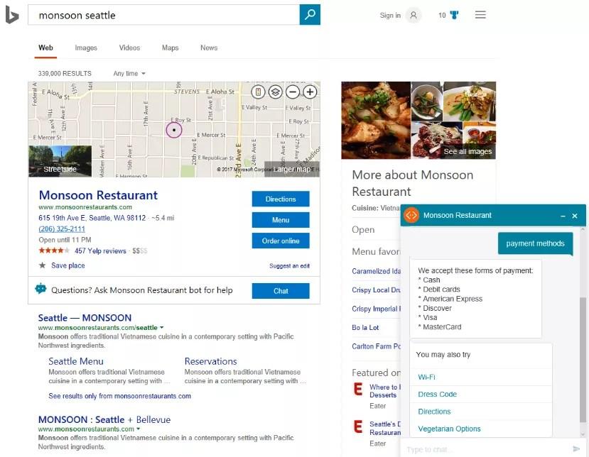 Bing monsoon Seattle Chatbot
