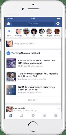 Trending News Feed on Mobile