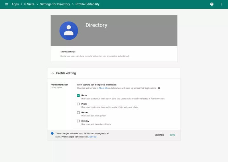 G Suite profile editability