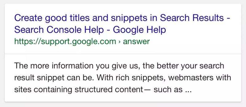 Google now using meta description for search results snippets