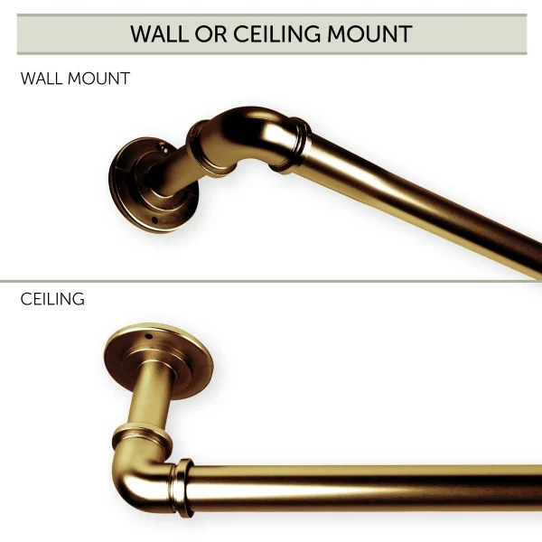 1 inch pipe blackout curtain rod 28 48 inch antique brass