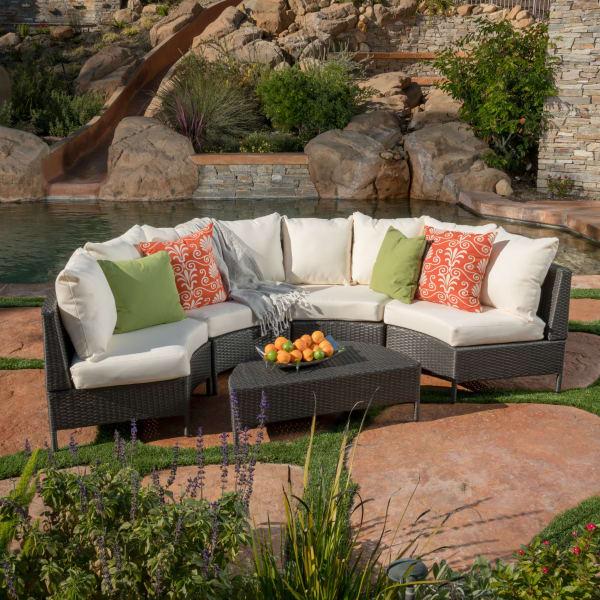 5 piece gray wicker sofa set with white cushions