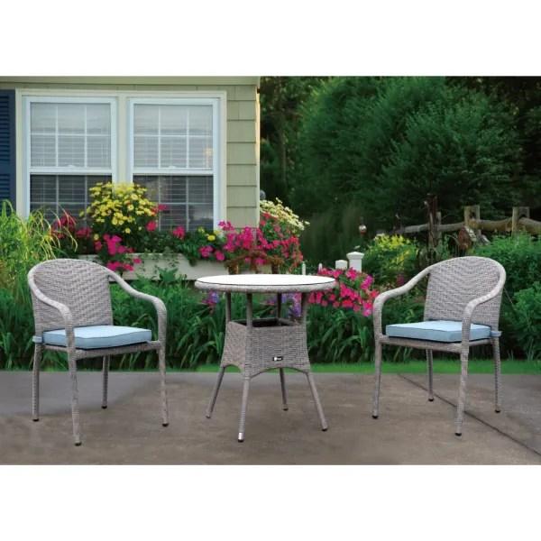 terrace natural finish 3 piece outdoor bistro set