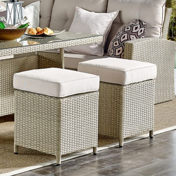 canaan all weather wicker set of 2 outdoor stools with cushions
