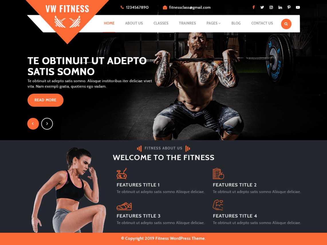 VW Fitness Gym WordPress Theme