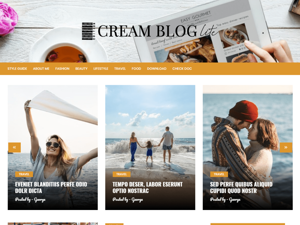 Cream Blog Lite WordPress Theme