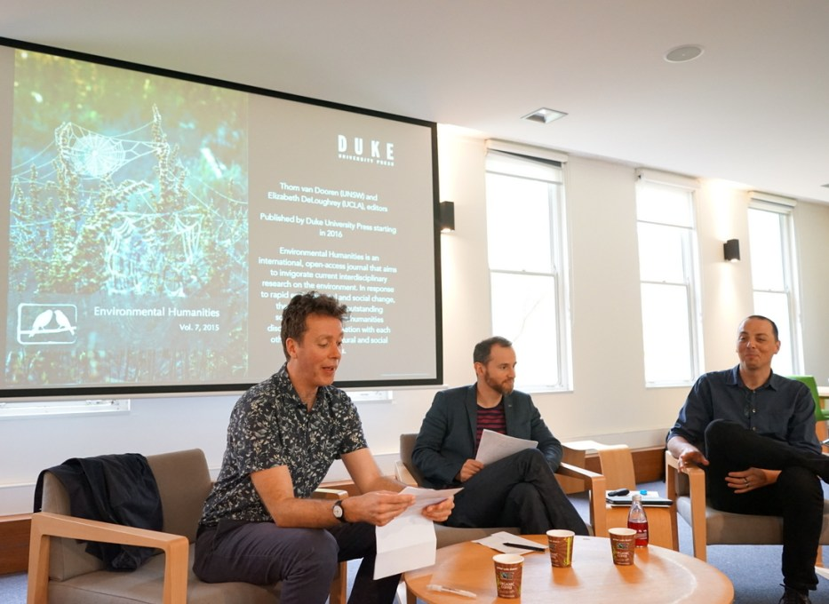 Tom Bristow, Cameron Muir and Thom van Dooren at the launch of the University of Melbourne's environmental humanities hub.
