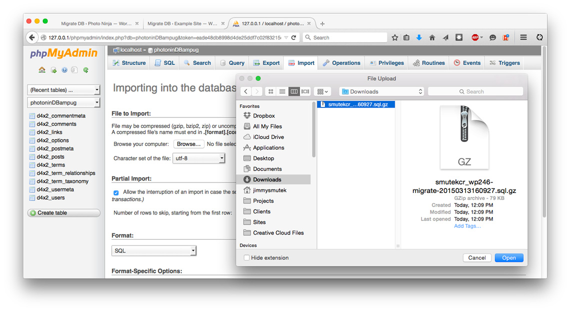 PHPMyAdmin browsing for the DB