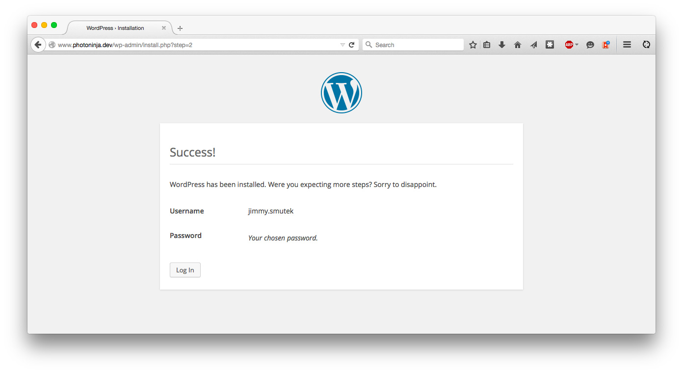 Install WordPress success screen