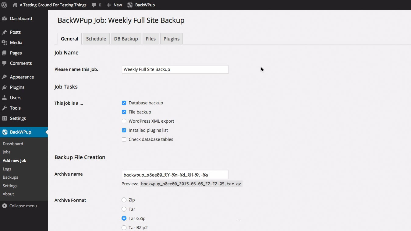 Adding a job to BackWPup