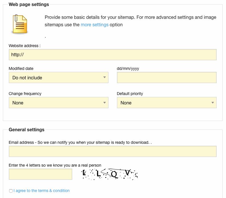 xml sitemap generator step1