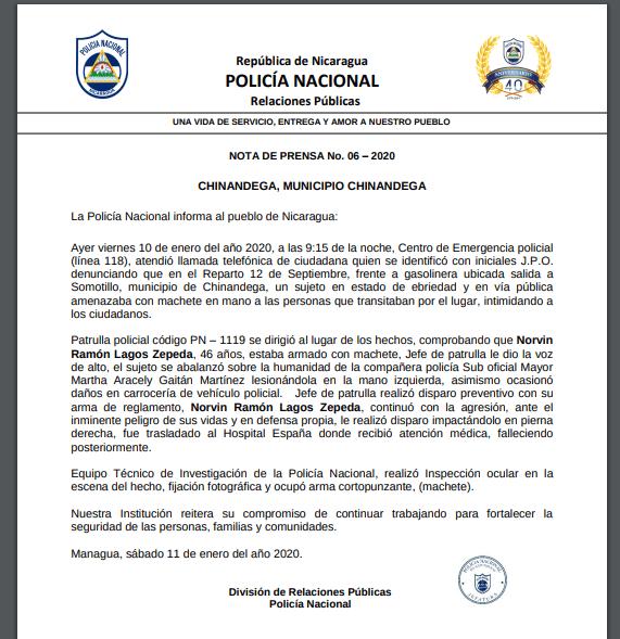 Norvin Lagos, Chinandega, asesinado por la Policía Orteguista de Nicaragua, Policía Nacional, Chinandega, asesinos