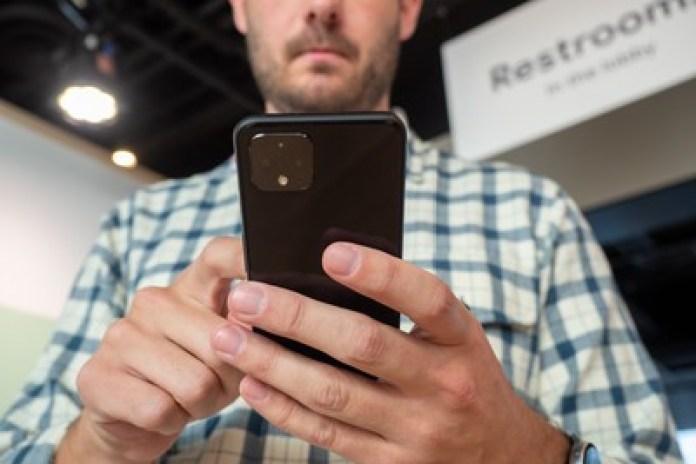 Google Pixel 5 in man hand