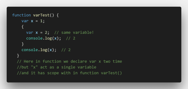 scope of var in a function
