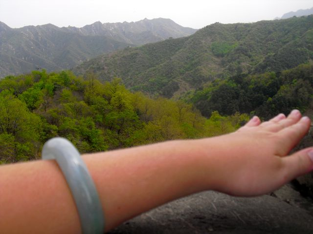 Those of you who know the significance of my jade bracelet to me can especially appreciate the greenery in this picture :) - Great Wall of China