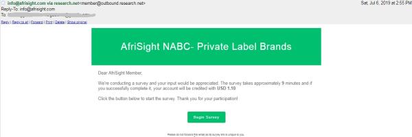 AfriSight survey email