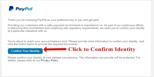 Confirm your identity PayPal