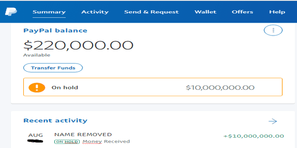 PayPal payment on hold