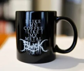 black metal coffee mug