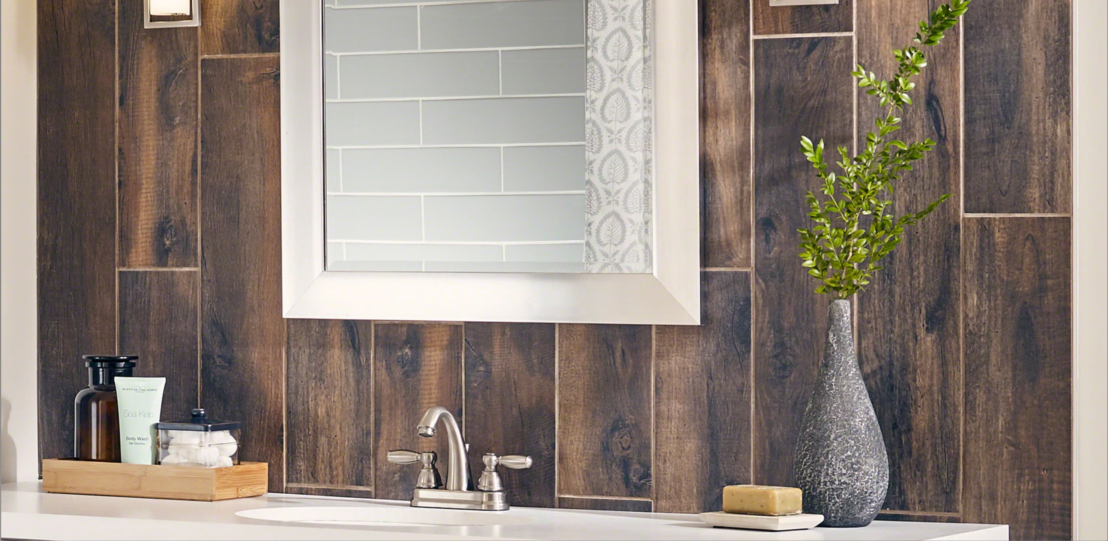gorgeous wood look accent wall