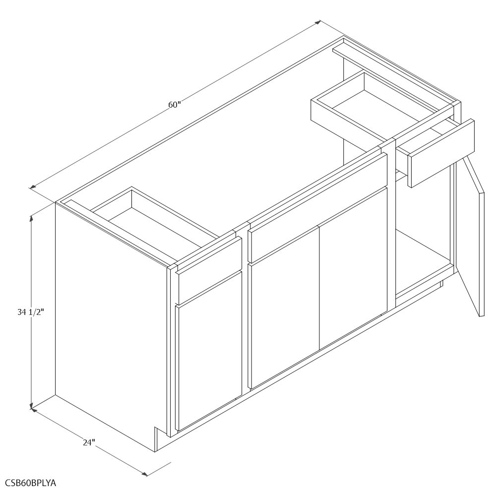 unfinished oak 60 combination sink base cabinet
