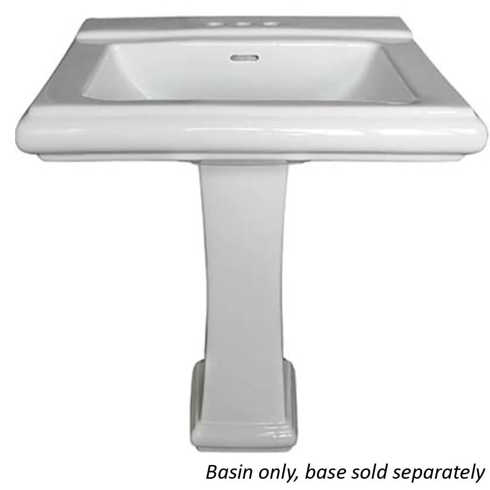 rio white rectangular pedestal lavatory sink basin only