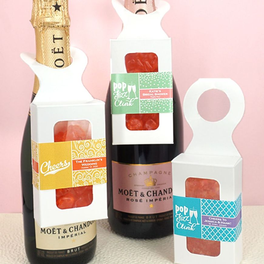 4044050--Personalized Gummy Bear Bottle Hanger Box Champagne Flavor