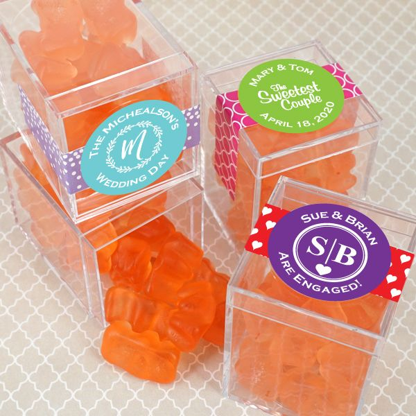 4054050--Personalized Gummy Bear Acrylic Box Favors Champagne Flavor