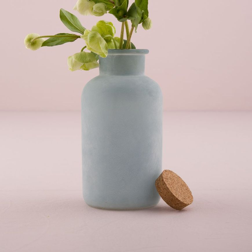 Frosted Sea Blue Bottle with Cork Stopper Large Sea Blue